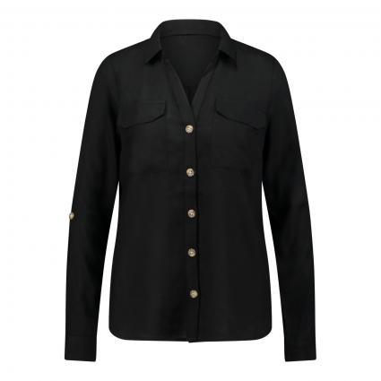 Bluse mit Tunika-Ausschnitt aus reiner Viskose schwarz (177868 Black) | S