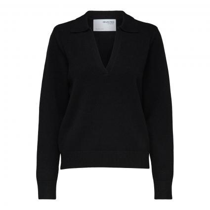 Pullover 'Aeya' mit Polokragen schwarz (179099 Black)   L