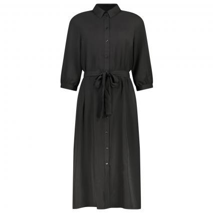 Hemdblusenkleid mit plissierten Falten schwarz (177868 Black) | S