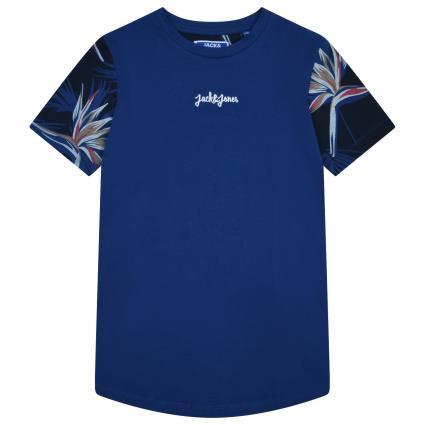 T-Shirt mit Musterung und Label-Stickerei  blau (226495 Navy Peony) | 176