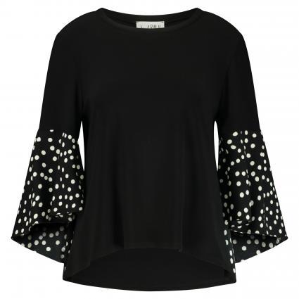 Shirt mit Volantärmel schwarz (110 SCHWARZ/VANILLE) | 44