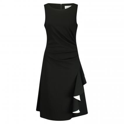 Asymmetrisches Kleid mit Raffung schwarz (110 SCHWARZ/VANILLE) | 40