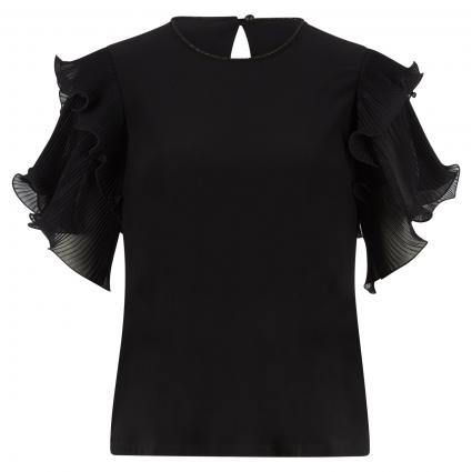 T-Shirt mit plissierten Rüschenärmeln schwarz (11 SCHWARZ) | 38