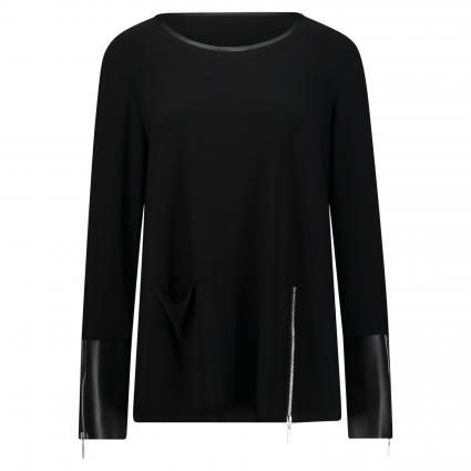 Fließende Bluse mit Reißverschlussdetails schwarz (11 SCHWARZ) | 38
