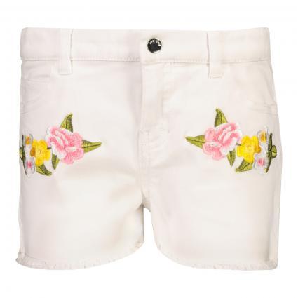 Bermuda mit floralen Details  weiss (065 White) | 116