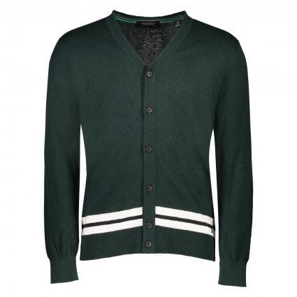 Strickjacke mit Streifen Details  grün (0218 Combo B green) | S