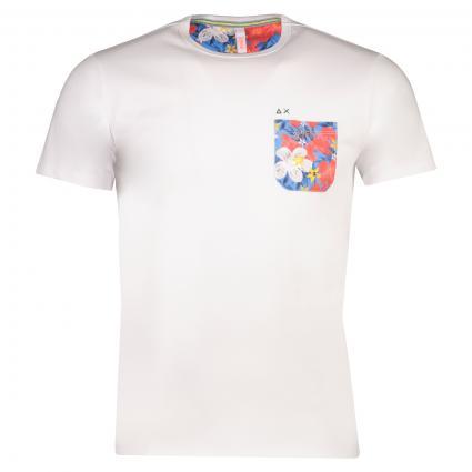 T-Shirt avec poche fleurie  divers (BIANCO) | L