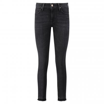 Skinny-Fit Jeans 'Scarlett' mit Fransenabschluss schwarz (PITCH RAW HEM) | 25 | 31