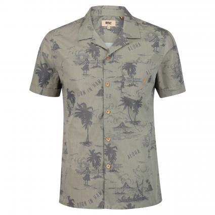 Kurzärmeliges Hemd mit Palmen-Print braun (uni palm print) | S
