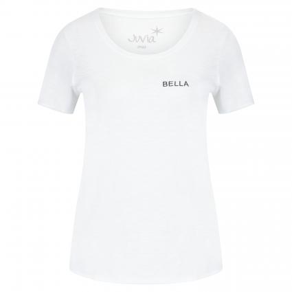 T-shirt avec inscription brodée blanc (100 white) | M