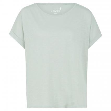 Basic T-Shirt mit Ärmelumschlag grün (414 seafoam) | XS