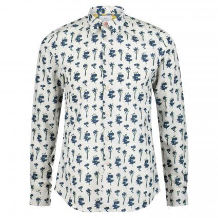 Slim-Fit Hemd mit Musterung ecru (02 offwhite flower) | XL