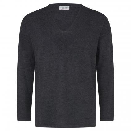 Pullover mit V-Ausschnitt aus reiner Wolle grau (1033 med grey) | 36