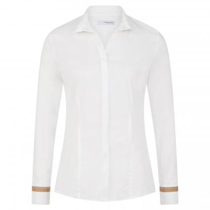 Bluse mit dekorativem Streifenbesatz weiss (01 weiß)   40