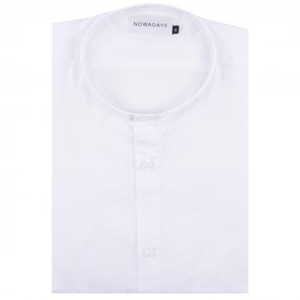 Slim-Fit Hemd mit Stehkragen weiss (107 Bright White) | M