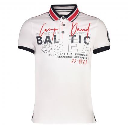 Poloshirt mit kontrastfarbenem Kragen weiss (Optic White) | XL