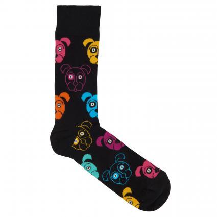 Socken mit Musterung schwarz (9001 dog sock) | 41-46