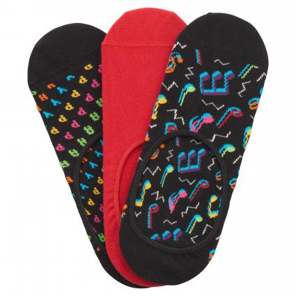 Socken mit All-Over Muster schwarz (9300 3-pack city jazz liner) | 41-46