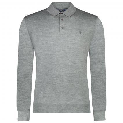 Langarm Poloshirt mit Label-Stickerei  grau (004 fawn grey) | S