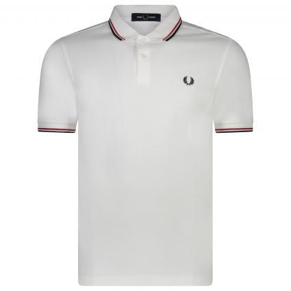 Poloshirt aus Baumwolle weiss (748 white red navy) | XXL