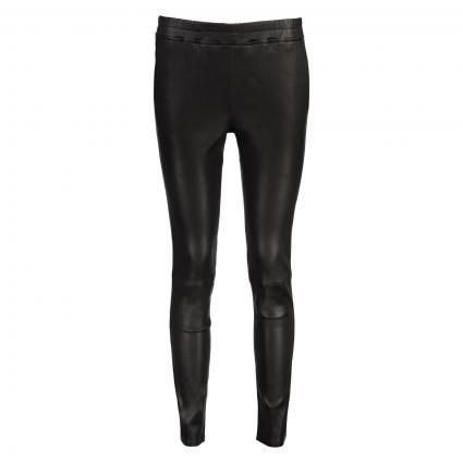 Pantalon en cuir'Chatou Plonge' avec ceinture élastique noir (black) | 42