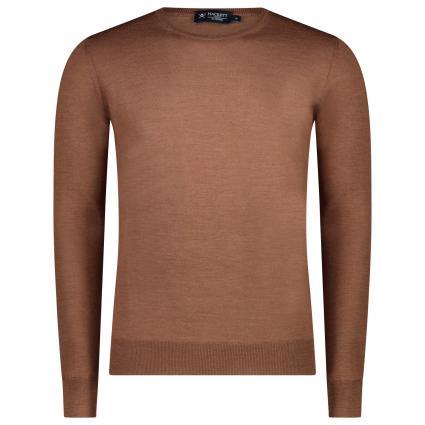 Pullover mit Rundhalsausschnitt aus reiner Merinowolle beige (876WALLNUSS) | XXL