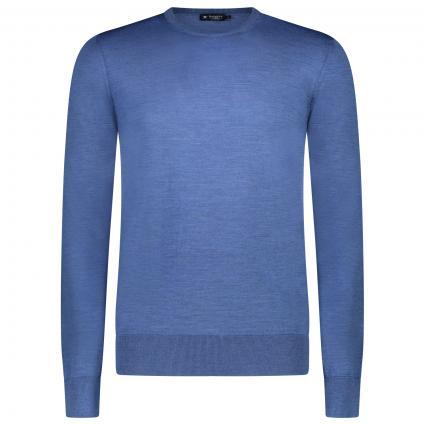 Pullover mit Rundhalsausschnitt aus reiner Merinowolle blau (588OCAEN) | XXL