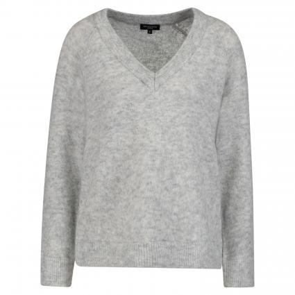 V-Ausschnitt Pullover 'Fanna' grau (LIGHT GREY MELANGE) | L
