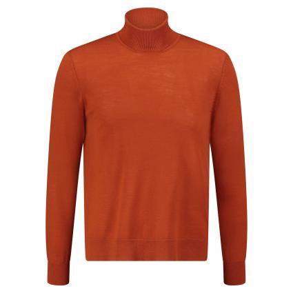 Rollkragenpullover 'Flemming' aus Merinowolle orange (umber) | XXL