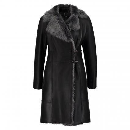 Mantel 'Toscana' aus Schafsleder grau (CARBONE BRISA) | 36