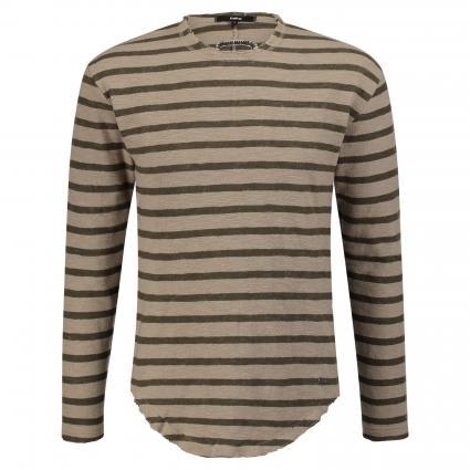 Pullover mit Streifenmuster beige (1028 sand oil green) | XL