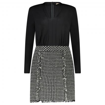 Kleid 'FIO' mit Kontrast-Stoff  schwarz (F6018 MILK BLACK) | L