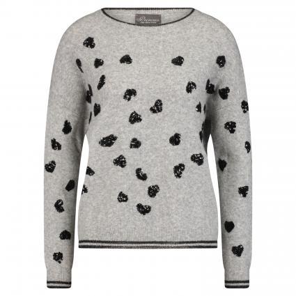 Pullover mit Perlen-Applikationen grau (1900 grau/schwarz) | XL