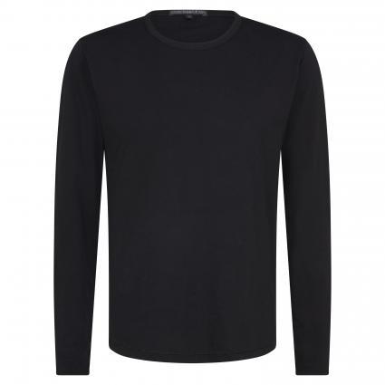 Langarmshirt 'Yoshi' mit offenen Saumkanten schwarz (1000 black)   M