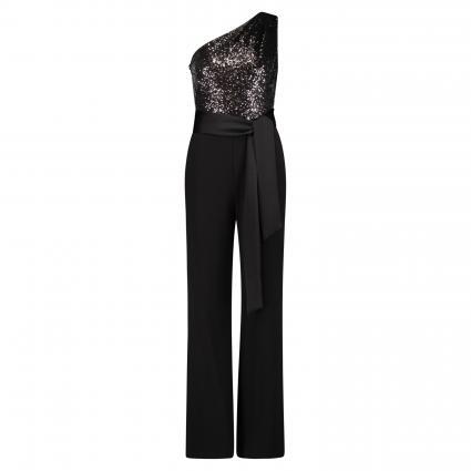 One Shoulders Jumpsuit mit Pailletten-Detail schwarz (002 black/black)   42