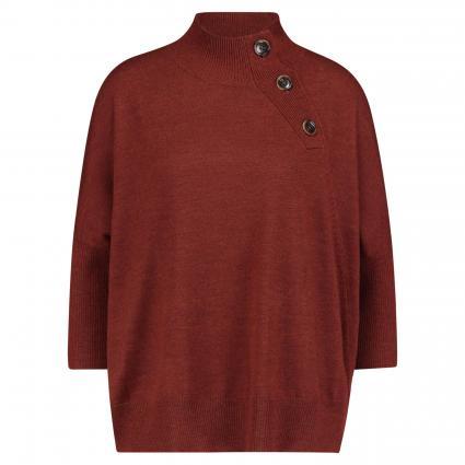Pullover mit Stehkragen und Zierknöpfen rot (1228 rust) | S