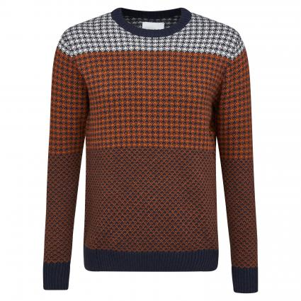 Strickpullover 'Brill' mit Musterung orange (umber) | XXL