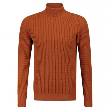 pull col roulé avec motif tressé orange (Caramel Cafe) | XL