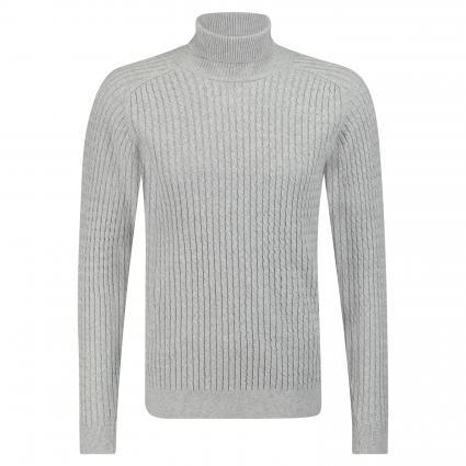 pull col roulé avec motif tressé gris (Light Grey Mel ) | S