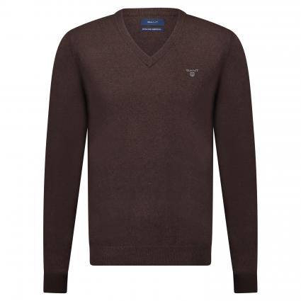 Pullover mit V-Ausschnitt braun (280 Dark Brown Mel ) | XXL
