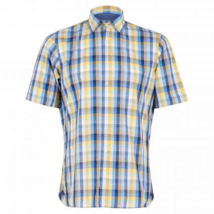 Kurzarmhemd  mit Brusttasche gelb (6086/15 chk yellow)   L