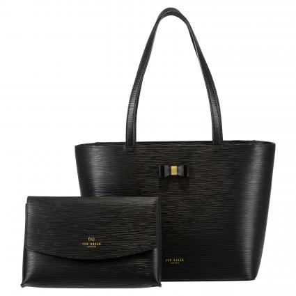 Shopper 'Deannah' mit Strukturmuster schwarz (BLACK) | 0