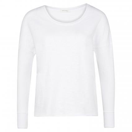 Langarmshirt mit offener Saumkante weiss (BLANC)   M