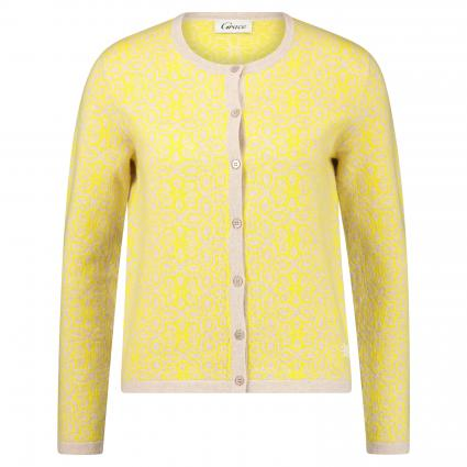 Strickjacke mit All-Over Muster gelb (400 yellow) | L