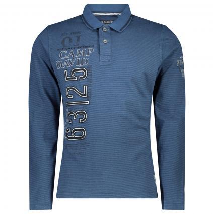 Langarm Polohemd mit Streifenmuster  marine (Blue Haze) | M