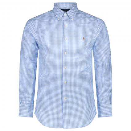 Slim-Fit Button-Down Hemd mit All-Over Karomuster  blau (001 LIGHT BLUE/WH) | XS