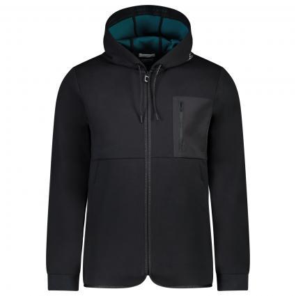 Sweatshirt jacke mit Labeling  schwarz (0008 black) | XL