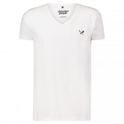 T-Shirt mit V-Ausschnitt weiss (white) | S