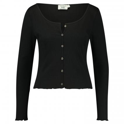 Langarmshirt mit Knopfleiste  schwarz (BLACK) | M