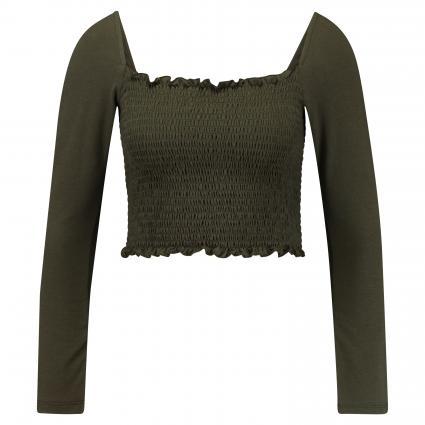 Cropped Shirt mit Smok-Details oliv (KHAKI) | M